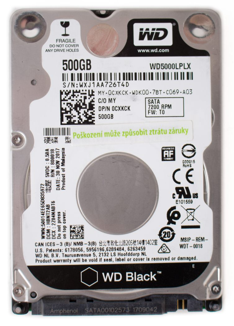 Western Digital Black HDD 500GB 7 mm